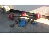 85kg plastic coated steel weights set, bar, dumbells and weights