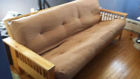 Wood futon for sale, great condition -PICK UP ONLY