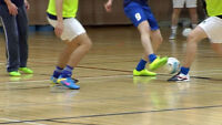 indoor soccer on double hardwood floor gym - old timers