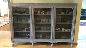 3 Door Antique Footed China Cabinet