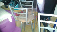 4 bar stool chairs that can spin. couch and chair as well