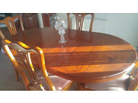 "Yew Dining Table, Chairs, Sideboard & Display Cabinet. Table L 5' W 3' H 30"" extended L 6'6"""