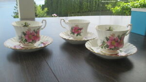Royal Albert Prairie Rose Cup and Saucer 3 sets