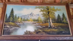 Mountain and River scene Oil painting