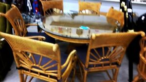 diningroom table rattan wicker bamboo 6 chairs glass table top