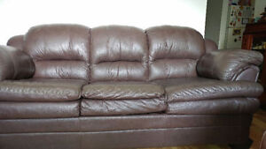 Brown Leather Couch and Chair $50.00