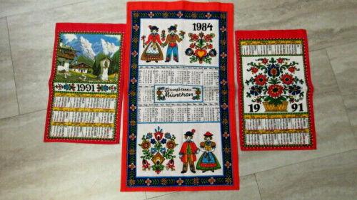 3 Vtg Hand Towel Linen Kolf Walterscheid Germany Ireland 1984 1991 Calendar