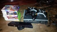 XBox 360, 3 controllers, kinect, and 12 top games