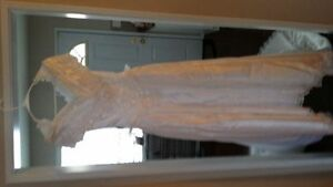 White satin full length wedding dress