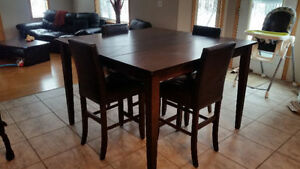Pub Height Dining Table, Leather Insert + 8 Chairs