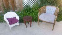 Small white child's wicker chair