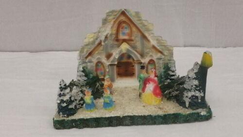 Vtg 1940s Christmas Holiday Display Chalkware Church Village Scene People Trees