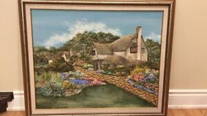 Collectible English Cottage -Large Oil on Board  Painting