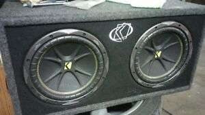 2 12  inch KICKER COMP subwoofers in KICKER box and amp