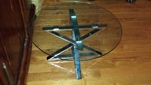 LOVELY ROUND GLASS AND STEEL TABLE - $250 (MILTON)