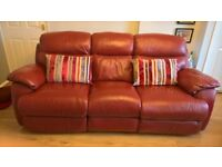 Alan Ward 3 seater red leather reclining sofa