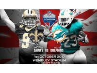 2x NFL WEMBELY TICKETS PREMIUM SEATS CLUB WEMBELEY MIAMI DOLPHINS vs NEW ORLEANS SAINTS