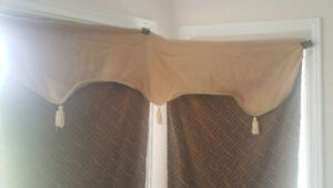 Curtain panels -Two pieces Brown and golden