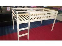 x2 brand new white pine midsleeper beds 190x90cm