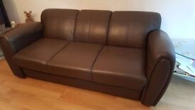 Wyvern Brown 3-seater faux leather Sofa and 2 armchairs for sale £100