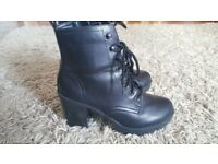 New Look black, lace up boots (Size UK 4/EU 37)