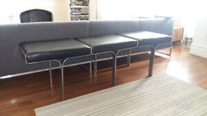 """Stainless Steel """"James Dean Style"""" Leather Bench"""
