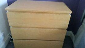 Ikea Malm 3 door drawer unit x 2
