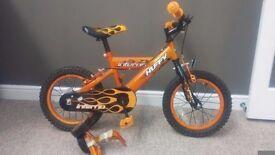 Boys bike and stabilisers