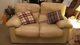 Cream leather sofas (will accept offers)