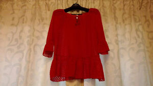 New Kensie Red Tie-neck Ruffle Blouse