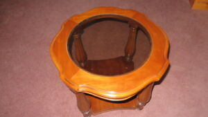 Solid Wood End, Accent  or Decor, Table With Smoked Glass Center