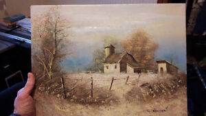 "NICE LITTLE (16"" X 12"") ORIGINAL OIL on CANVAS PAINTING, -- Barn"
