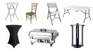 fab rentals- chairs,tables,chafing, linen, tents