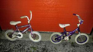 2 vélos filles, 2 vélos gars et 2 tricycle