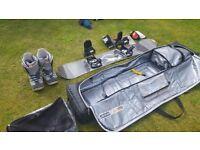 Snowboard, size 9 boots, bindings, snowboard bag
