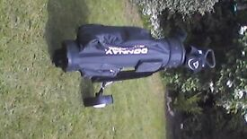 Golf clubs, bag and trolley