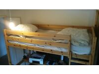 Pine high sleeper single bed frame and desk.