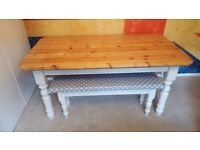 Solid Pine Farmhouse Table and 2 New Farmhouse Benches