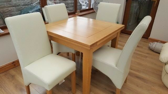 Solid Wood Extendable Dining Table Leather Chairs For Sale