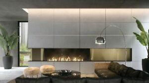 Concrete Veneer, Feature wall, Fireplaces, modern cladding.