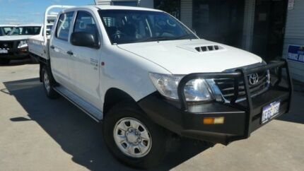 2012 Toyota Hilux KUN26R MY12 SR Double Cab Glacier White 5 Speed Manual Cab Chassis