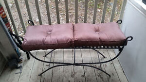 Very sturdy steel garden bench with cushions