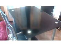 black glass table and 4 chairs in vgc