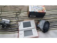 Nintendo ds with guitar hero game and handset + other games