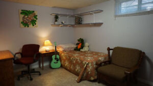 Available now furnished Malmo basement room for rent to female