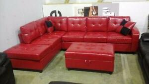 New Red Bonded Leather Sectional with Storage Ottoman