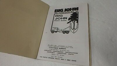 Big John Tree Transplanter Owner Operator Parts Manual Ci49