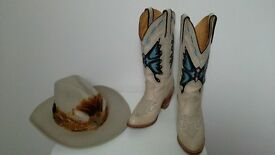 Ladies cowboy boots and stetson hat