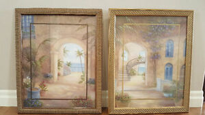 2 Tropical Picture Frames & Set of 8 Etched Palm Tree Glasses