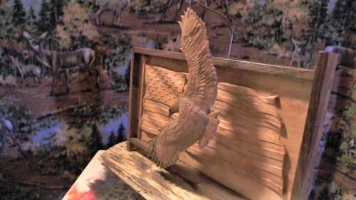 Carving,Eagle,Log home/cabin decor,Rustic Art,American Eagle,Made in USA,flag+